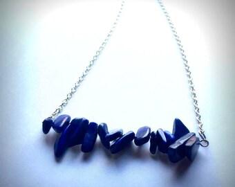Lapis Lazuli Chipped Stone Bar Necklace