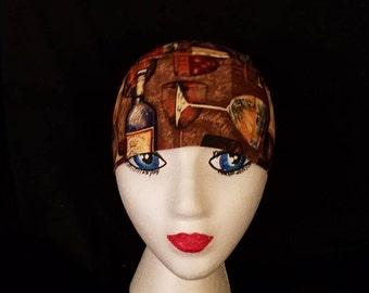Handmade Chemo or Skull Cap- Wine Bottles and Glasses, Hair Loss, Motorcycle,  Surgical Cap, Helmet Liner, Headwrap, Do Rag, Hat, Alopecia