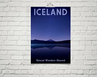 Iceland Print 18x24 Poster Fine Art Print Minimalist Wall Art Landscape Art Nature Prints Mountain Decor European Travel Poster