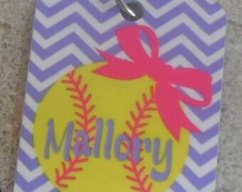 Personalized Softball Key chain/ luggage tag/ baseball bag tag-monogrammed softball bag tag
