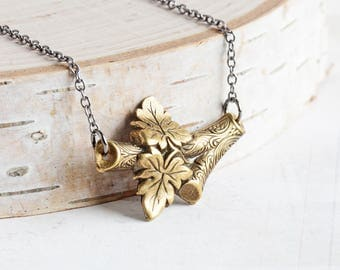 Antiqued Brass Plated Leafy Branch Necklace on Gunmetal Chain