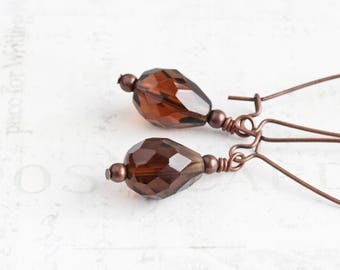 Smoky Topaz Brown Faceted Glass Bead Earrings on Antiqued Copper Plated Hooks