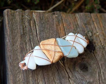 PALE BLUE and MILK Sea Glass Ocean Pottery Barrette Found Beach Treasure Hair Clip Mermaid Accessories Gifts under 30 For Her Summer Fashion