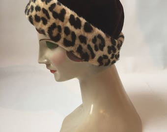 Chocolate brown velvet and faux leopard print later 1950s to 1960s hat by Mr John for Lord and Taylor