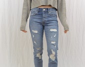 Vintage Cropped Thermal Shirt, Striped Shirt, Oversized, Size Medium, Grunge, OOAK, Tumblr Clothing, On Trend