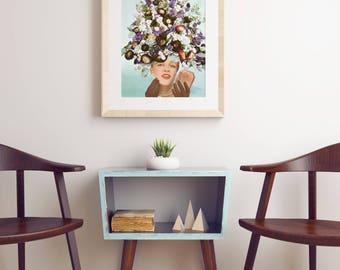 Pop Art Poster, Mid Century Floral Art Print, Pop Surrealism - Floral Fashions III