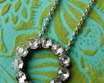 Eternity Ring // Vintage 1950s Rhinestone Crystal Ring Necklace on Silver Plated Chain, Glamour Art Deco Bridal Bride Pinup Bohemian Retro