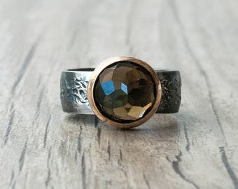 Smokey Quartz Ring, Sterling Silver Black Band and Brown Gemstone Cocktail Ring, Bohemian Solitaire Ring, Quartz Jewelry, Statement Ring