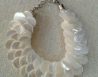 White Mother of Pearl Overlapping Bracelet