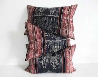 Pillow Cover Hand Woven Ikat Tribal Birds Mythology Fringe Upcycled 12 x 18 Lumbar Ready to Ship