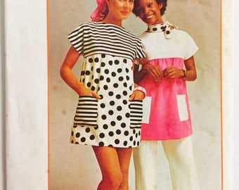 Simplicity 5467 - Size 16-18 - Bust 38-40 - 1972 Misses Mini Tent Dress or Smock top - Super Simple Vintage 1970s Sewing Pattern