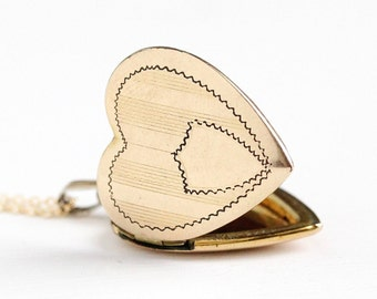 Vintage 12k Rosy Yellow Gold Filled Heart Locket Necklace - Late Art Deco 1940s Sweetheart Pendant Romantic Charm Jewelry , Dason