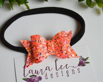 READY TO SHIP, Halloween Glitter Bow Nylon Headband or Alligator Clip, Classic Bow, Toddler, Halloween Bow, Orange Bow, Infant, Baby Girl