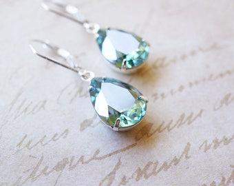 Earrings, Silver Earrings, Dangle Earrings, Drop Earrings, Crystal Earrings, Erinite Earrings, Swarovski Earrings, Bridesmaid Earrings, Gift