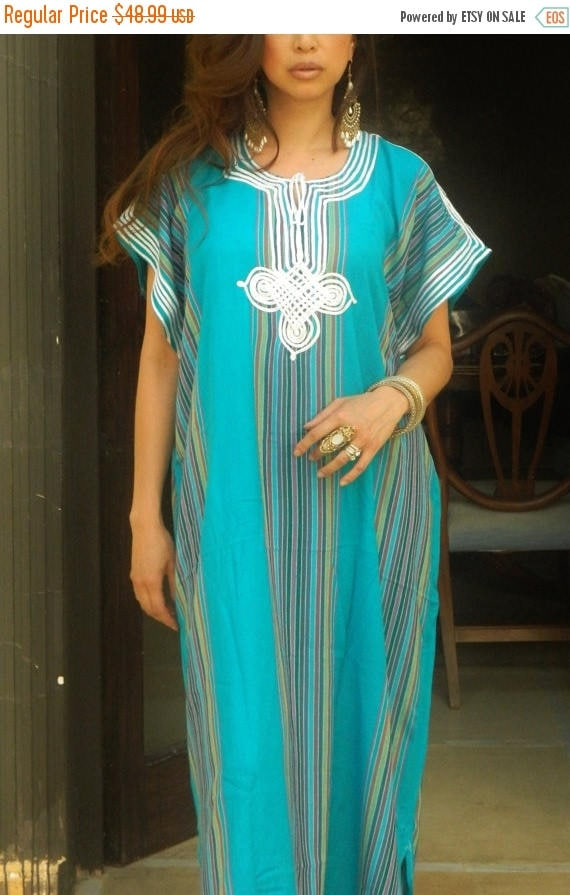 25% OFF Autumn Sale// Spring Trend Resort Caftan Kaftan Bedoin Style-Turquoise- loungewear,beachwear, Mother's gift for moms ,and to be moms