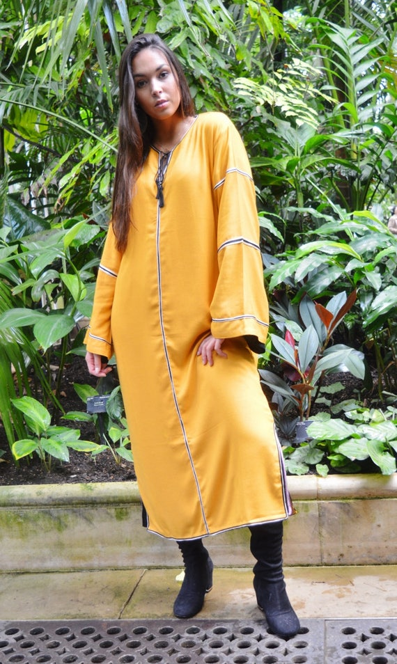 Kaftan, Caftan, Adriana Dark Yellow Kaftan Long, Moroccan Kaftan, maxi dress, beach cover ups, beach dress, plus size, winter dress, gift