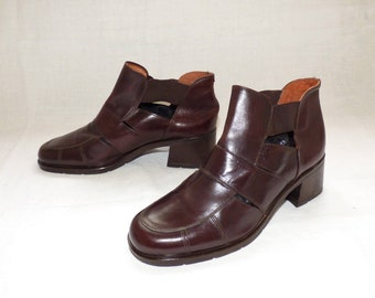 """Vintage Brown Real Leather TWILIGHT """"Sko Boutique"""" Pull On Cut Off Ladies Women's Ankle Boots Chelsea Size UK 6 EU 39 Made In Italy"""