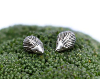 Hedgehog earrings silver & titanium or niobium post