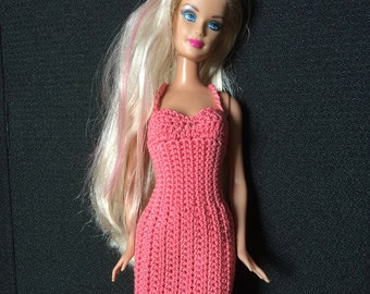 Barbie Fashion Doll Dress, Pink, Handmade Barbie Dress, Doll not included