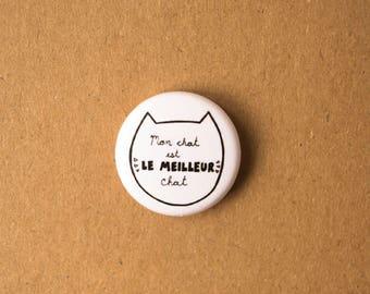 """Mon chat est le meilleur chat macaron (1"""" de diamètre), macaron chat, cadeau chat, badge chat, badge animaux, cat lady, amoureux chat"""