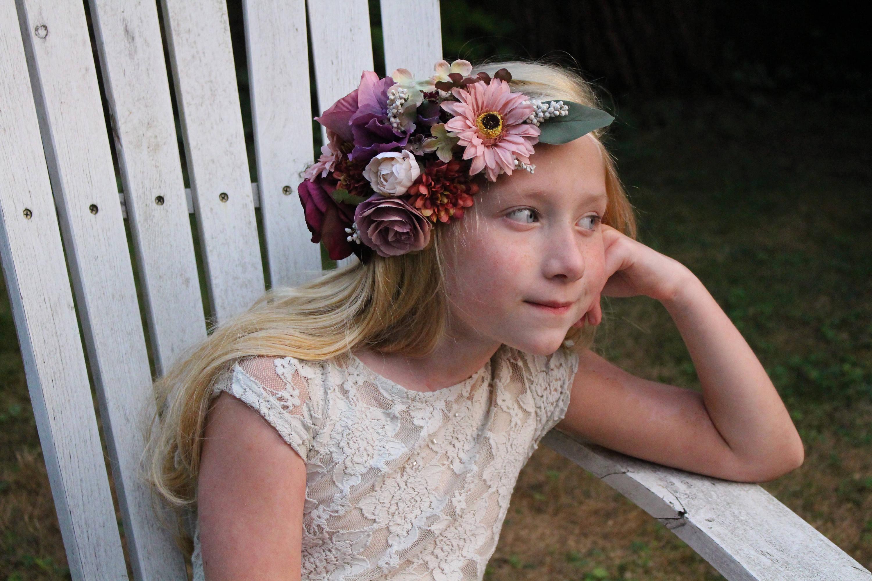 Fall Flower Headband Wine Headband Flower Crownhalo Headband