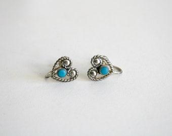 Sterling Turquoise Heart Screw Back Earrings