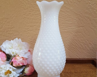 Hobnail Milk Glass Hurricane Lamp Shade, Replacement Globe Chimney - Oak Hill Vintage