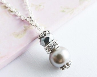Grey bridesmaid necklaces, pearl necklace, grey wedding jewelry, pearl and crystal, bridal party gift, bridesmaid gift