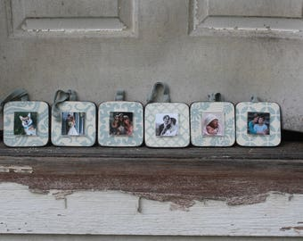 set of six mini frame ornaments handmade recycled wood frame small wood photo - Mini Picture Frame Ornaments