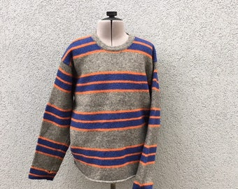 SALE AS IS Vintage 90s Abercrombie Grey Blue Orange Striped Sweater And Fitch