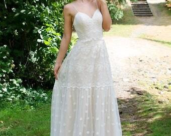 Bohemian wedding dress, lace wedding dress, bridal gown, spaghetti strap wedding dress.
