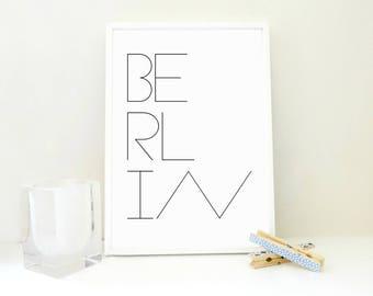 Berlin Poster, Berlin Printable Art Print, Typography Poster, Travel Print, Berlin Art, Germany Poster, Scandinavian Design, Wall Art, PDF