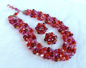 Vintage Red Glass Multi Strand Beaded Necklace and Earrings Set/Red Glass Beaded Necklace/Pink and Red 3 Strand Glass Beaded Choker Necklace