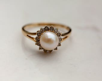 Estate Pearl and Diamond Halo Ring With Split Shank Set in 14K Solid Yellow Gold, Size 7 / Pearl Halo Ring / Pearl Engagement Ring /