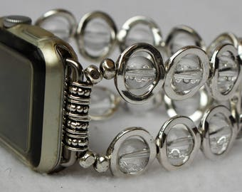 Watch Band for Apple Watch, Silver Ovals and Clear Beads Band for Apple Watch