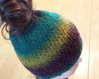 Ponytail Beanie - Turquoise Blue, Gold and Brown