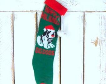 Vintage Happy Holidogs/Big Dogs woven knit Christmas stocking/long slouchy xmas sock/dog/fur baby/pet stocking/ retro xmas sock