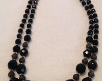 Black Jet Bead Necklace // Double Strand // Czeckslovakia // Vintage