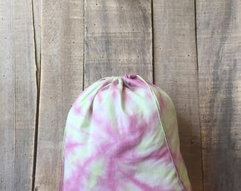 Pink and Green Tie Dye 10 x 12 Project Bag - knitting bag - crochet bag - sewing bag - project bag - Sheepy Saks - tied dye bags - spiral