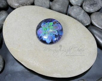 Garden Celebration - Lampwork Glass Cabochon - 16mm - Jewelry Making Supply