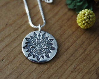 Silver Flower Medallion Necklace