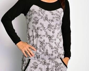 grey jersey dress blossoms black by STADTKIND