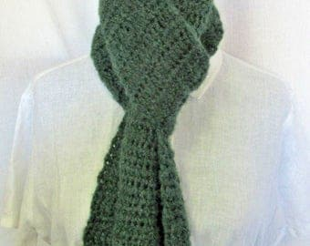 Green Hat and Scarf SET 104x7 Extra Long Oversize Mans Womans Warm Handmade Crochet Knit Irish Easter Spring Beanie Cap Soft Fluffy Trending