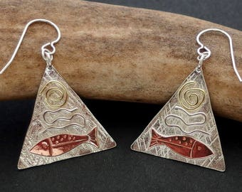 Salmon Earrings - Sterling Silver, Copper and Alaskan Gold Nugget