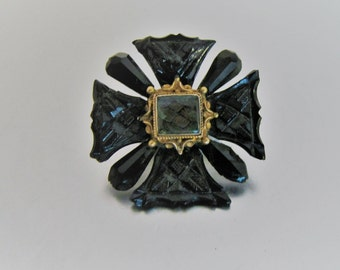 Antique Maltese Cross Mourning Brooch. English Victorian Black Vauxhall Glass French Jet Hair Brooch. Late Georgian Mourning Jewelry C1800