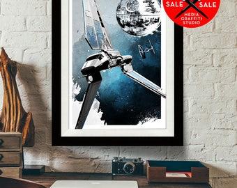 "Star Wars Art - SALE! 18""X24"" - Death Star and Darth Vader Shuttle Tydirium - Star Wars Poster, Art Print, Fan Art, Star Wars Print"