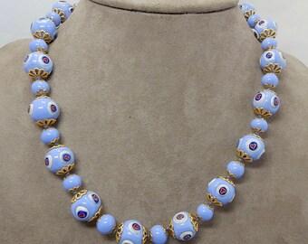 Vintage Blue Venetian Bead Necklace w/ Lampwork Hearts    OCJ9