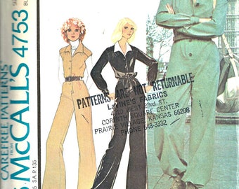 1970's McCall's Pattern 4753 Women's Jumpsuit Size 8
