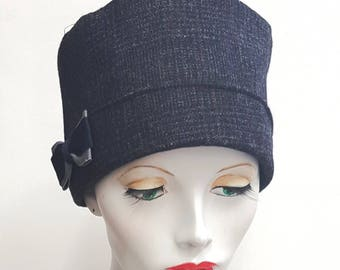 Blue grey wool tweed close fit cloche hat flapper vintage style - flat pack - 22 inch 56 cm