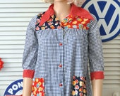 60s Vintage Women's Blouse Blue and White Gingham Check Lady Bug Floral Polka Dot Gardener's Shirt 3/4 Sleeve 2 Pockets Smock Small as is